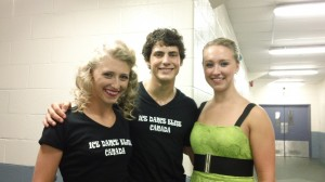 Backstage after the Ice Dance Elite show with Piper, Paul and her twin Alexe