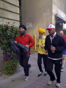 Pj captured this picture of 101 year old Fauja Singh at the end of a 3K Fun Run in downtown Toronto.