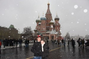 Alex and Mitch in front of St Basil's Cathedral in Red Square (Moscow)